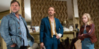 "Russell Crowe, Ryan Gosling and Angoulie Rice play at neonoir malaise in Shane Black's ""The Nice Guys."""
